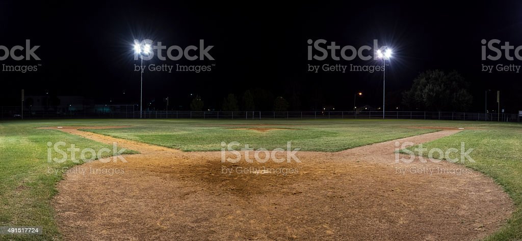 Panorama of empty baseball field at night stock photo