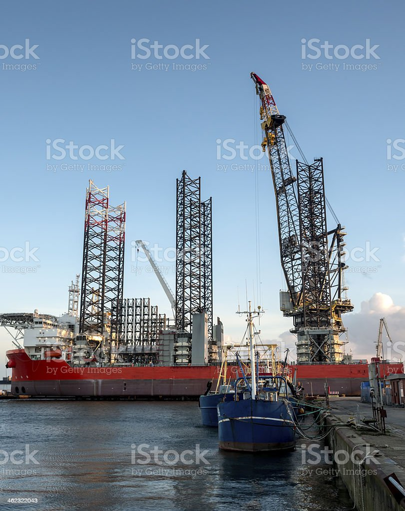 Panorama of Esbjerg oil harbor, Denmark stock photo