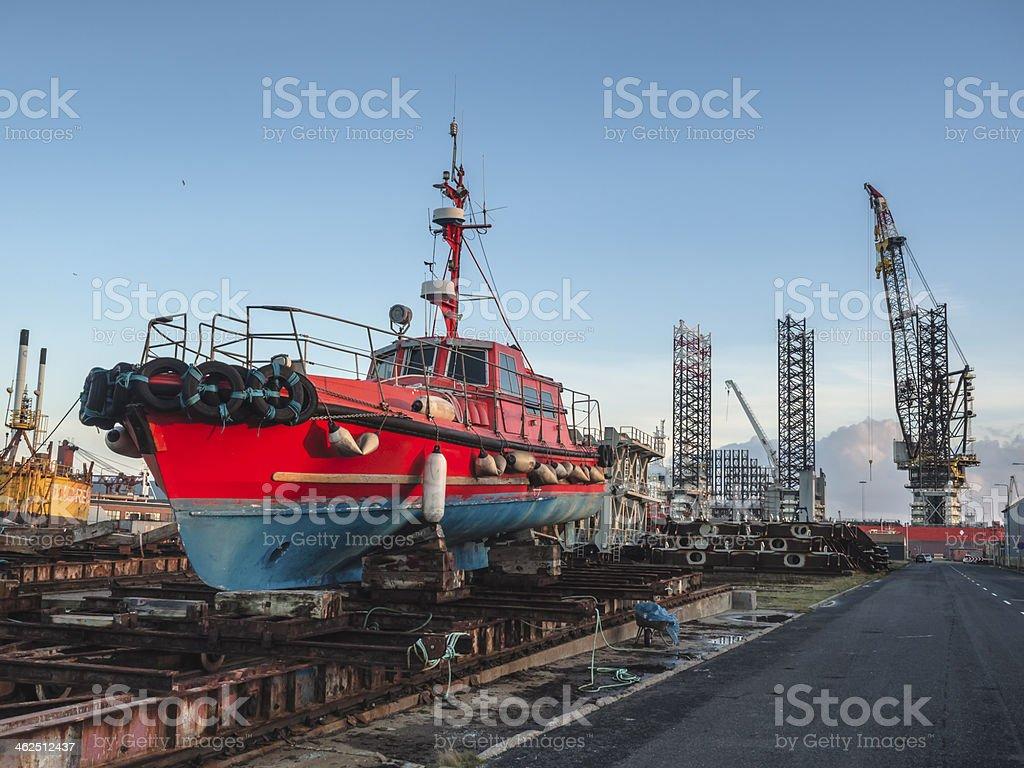 Panorama of Esbjerg oil harbor, Denmark stock photo