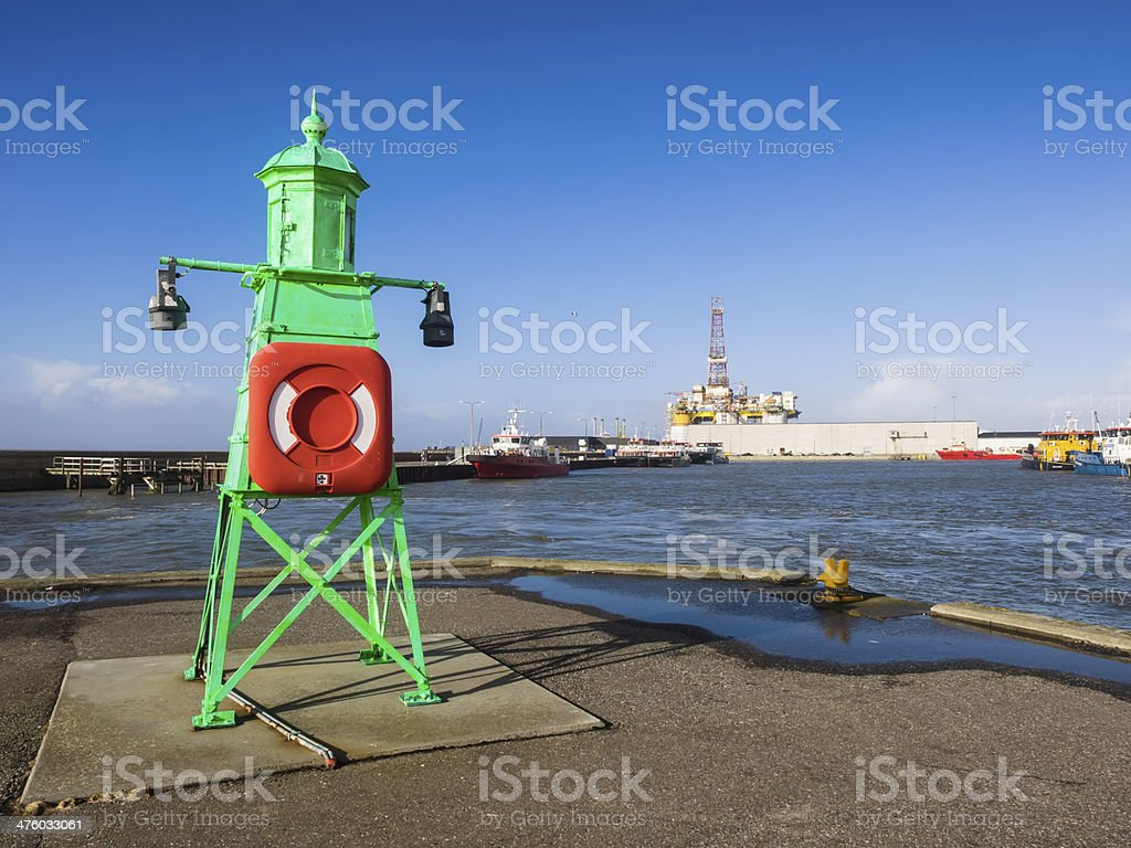 Panorama of Esbjerg oil harbor with rig, Denmark stock photo