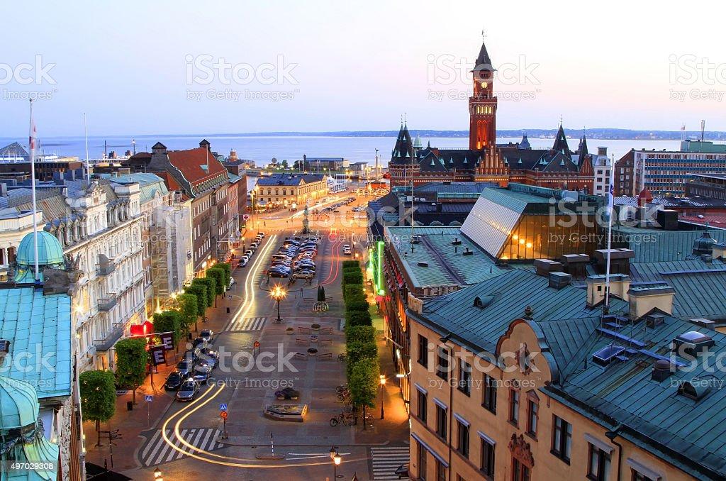 Panorama of evening Helsinborg, Sweden stock photo