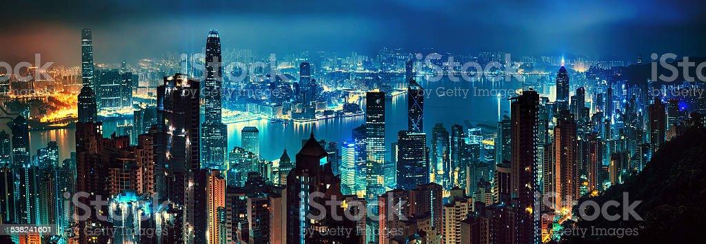 panorama of evening hong kong stock photo