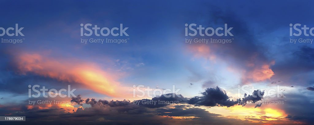 Panorama of evening sunset sky with clouds royalty-free stock photo