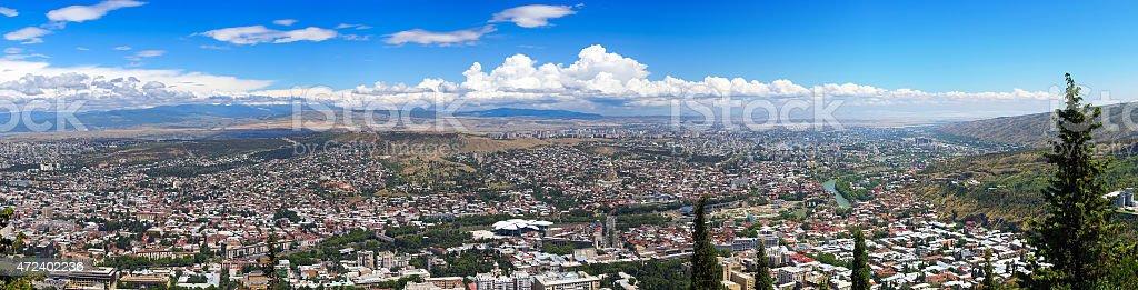 Panorama of evening Tbilisi. Republic of Georgia stock photo