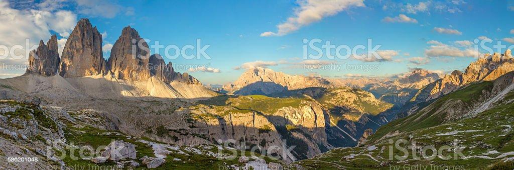 Panorama of Famous Tre Cime di Lavaredo, Dolomites Alps, Italy, stock photo