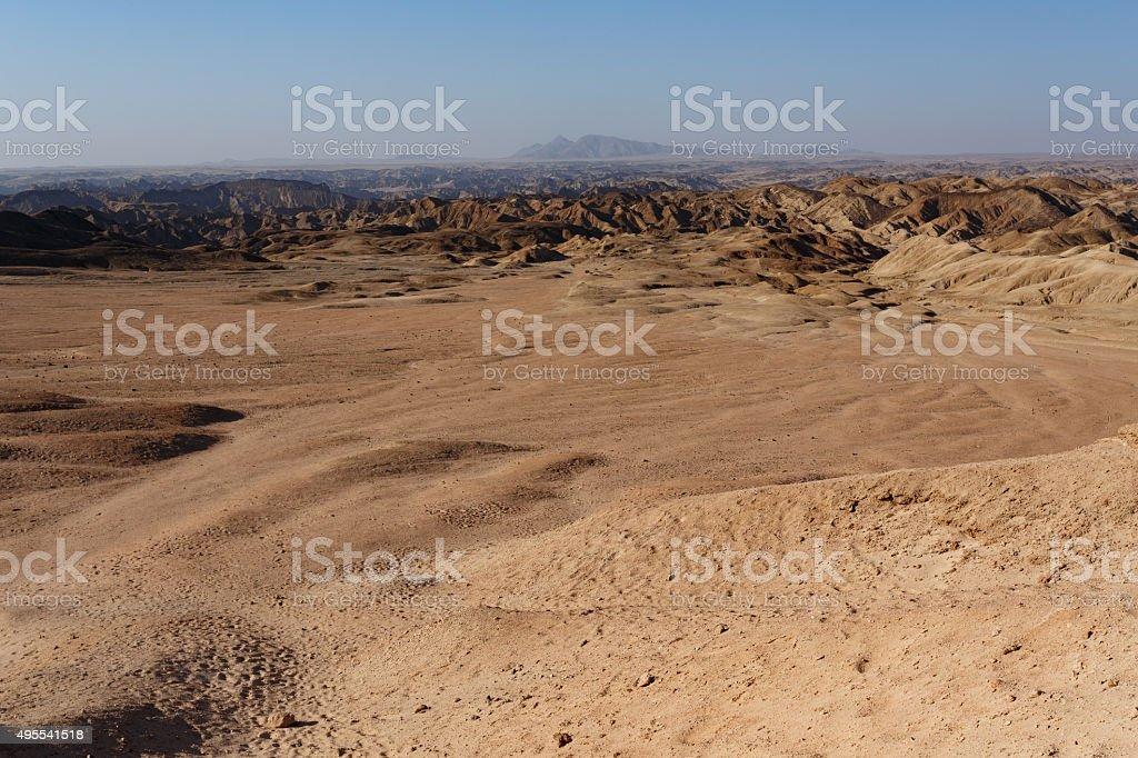 panorama of fantrastic Namibia moonscape landscape stock photo