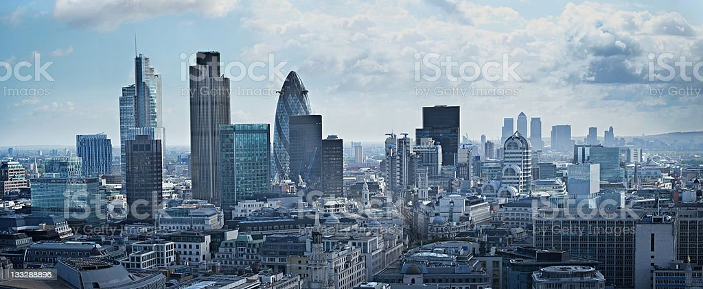 Panorama of financial district in London, England stock photo