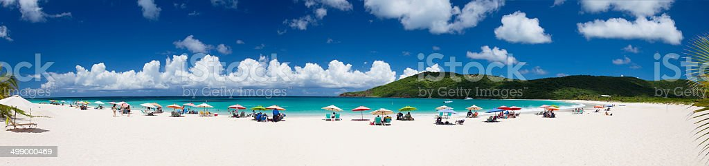 panorama of Flamenco Beach on Culebra Island, Puerto Rico stock photo