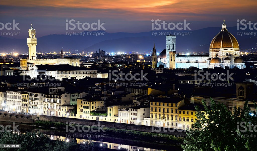 Panorama of Florence at dusk stock photo