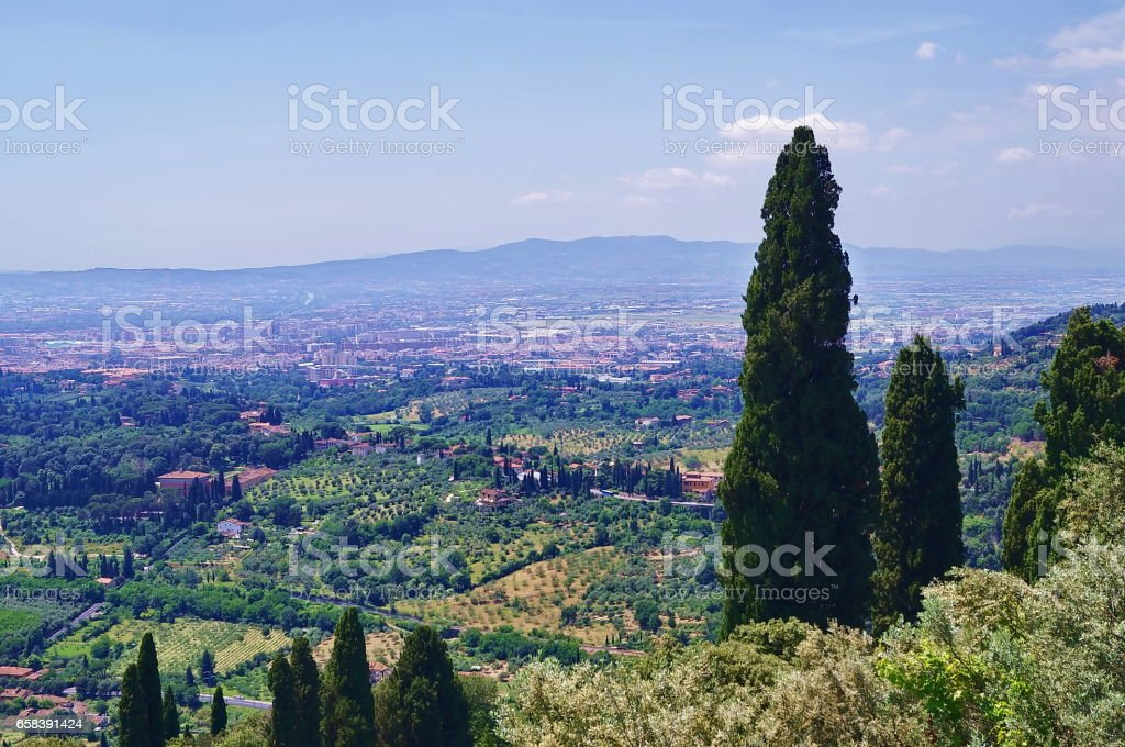 Panorama of Florence from Fiesole stock photo