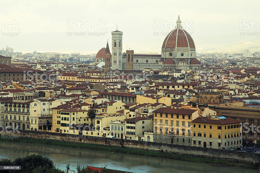 Panorama of Florence in Italy stock photo