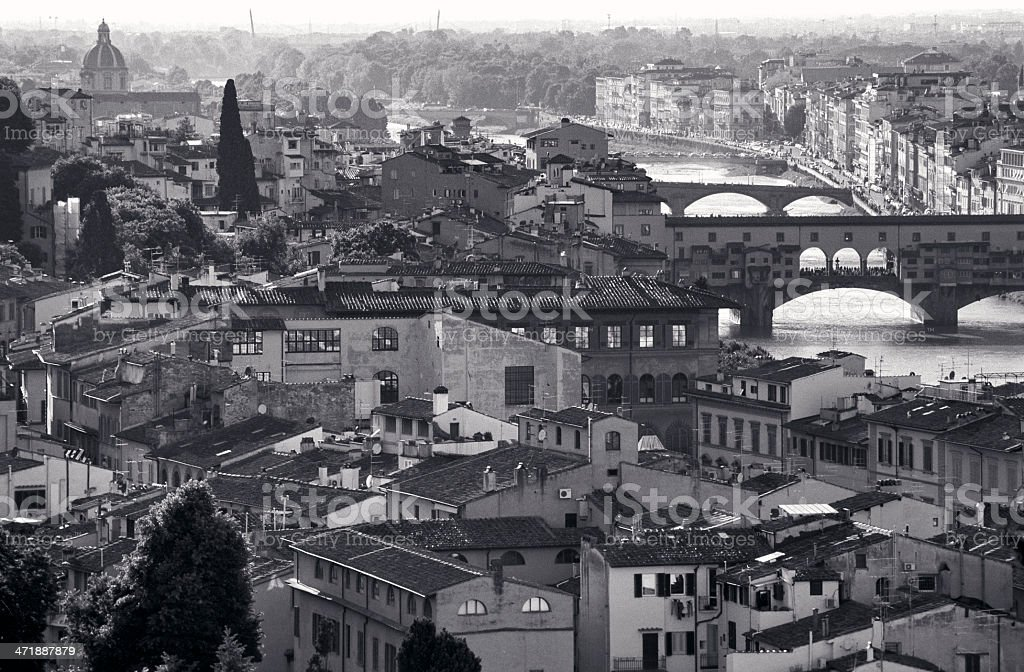 Panorama of Florence (Firenze) with some famous landmarks royalty-free stock photo