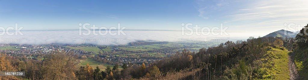 Panorama of fog in the Severn Valley UK Malvern Hills stock photo