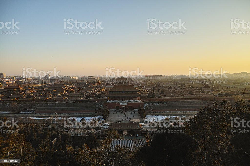 Panorama of Forbidden City under the dusk royalty-free stock photo