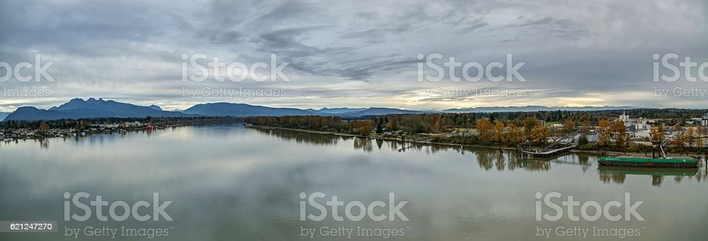 panorama of Fraser River and riversides in autumn stock photo