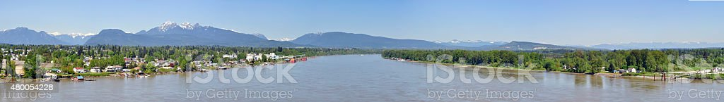 panorama of  Fraser River stock photo