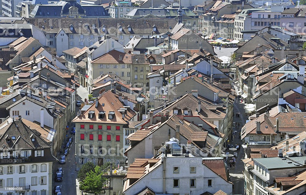 Panorama of Fribourg roofs stock photo