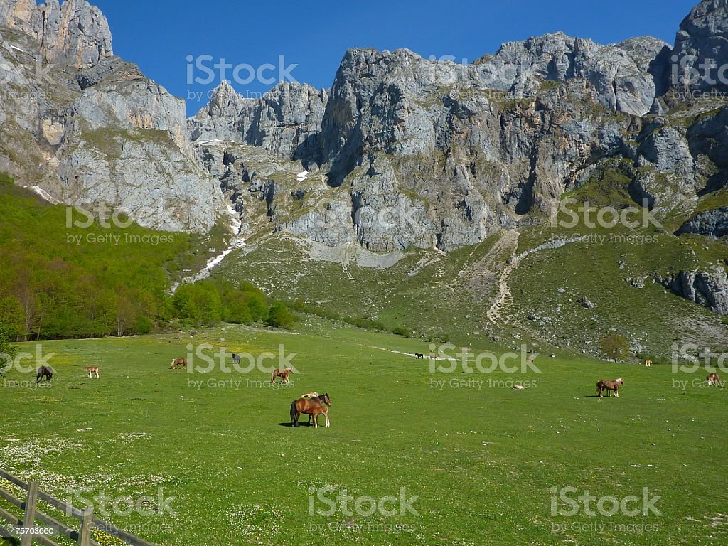Panorama of Fuente De in Northern Spain stock photo
