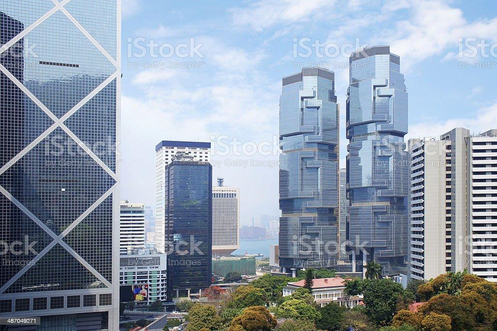 Panorama of futuristic city Hong Kong stock photo
