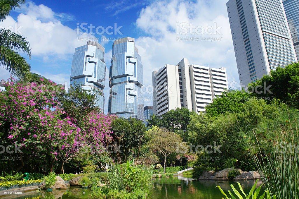 Panorama of futuristic city HongKong from Hong Kong Park stock photo