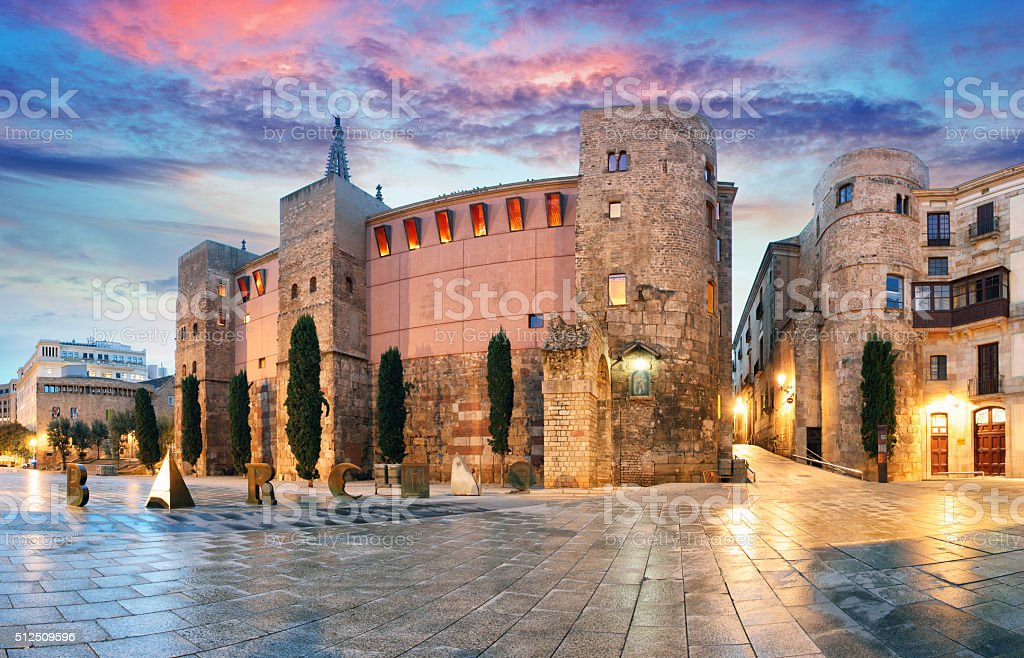 Panorama of Gate, Barri Gothic Quarter, Barcelona, Spain stock photo