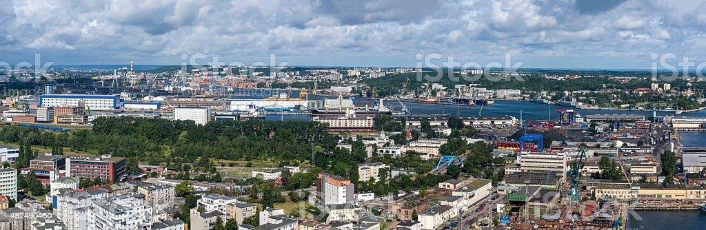 Panorama of Gdynia harbor, Poland stock photo