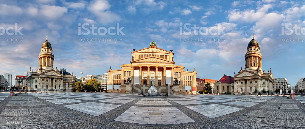 Panorama of Gendarmenmarkt square, Berlin at day stock photo