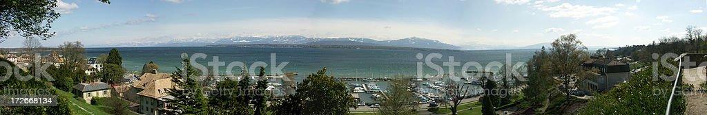 Panorama of Geneva lake stock photo