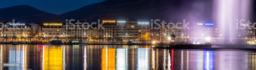 Panorama of Geneva with Fountain at Night, Lake Geneva, Switzerland stock photo