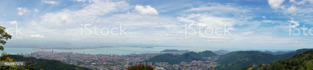 Panorama of Georgetown city on Penang island, Malaysia stock photo