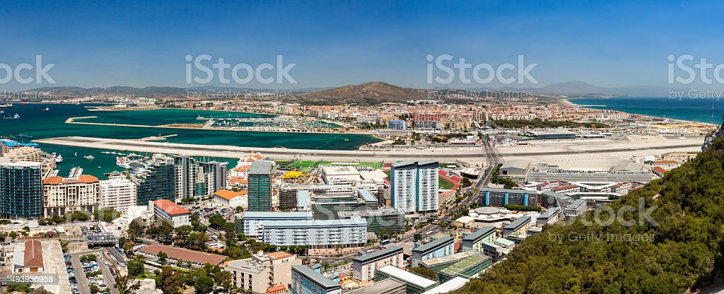 Panorama of Gibraltar Airport stock photo