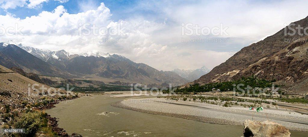Panorama of Gilgit river, Gilgit-Baltistan Province Pakistan stock photo