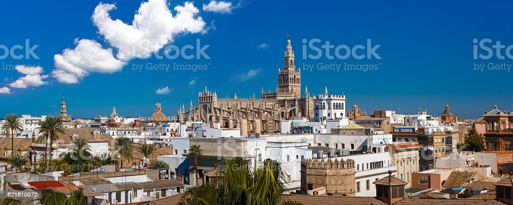 Panorama of Giralda and Seville Cathedral, Spain stock photo