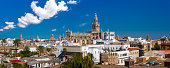 Panorama of Giralda and Seville Cathedral, Spain