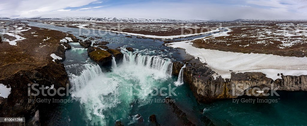 Panorama of Godafoss Waterfall in Iceland (Aerial View) stock photo