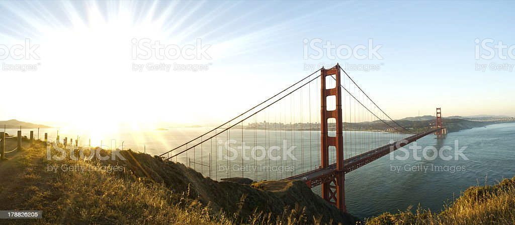 Panorama of Golden Gate Bridge, San Francisco at Dawn royalty-free stock photo