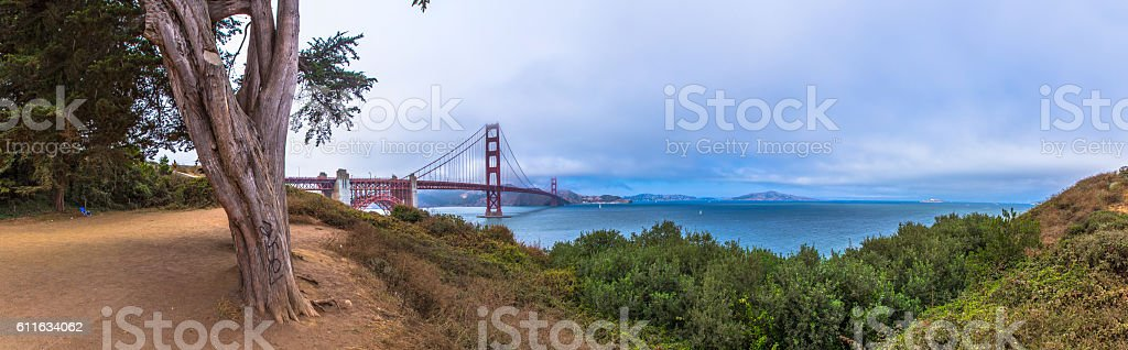 Panorama of Golden Gate Bridge San Francisco stock photo