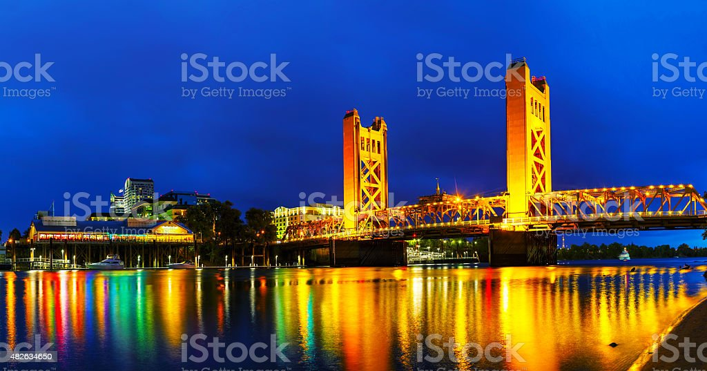 Panorama of Golden Gates drawbridge in Sacramento stock photo