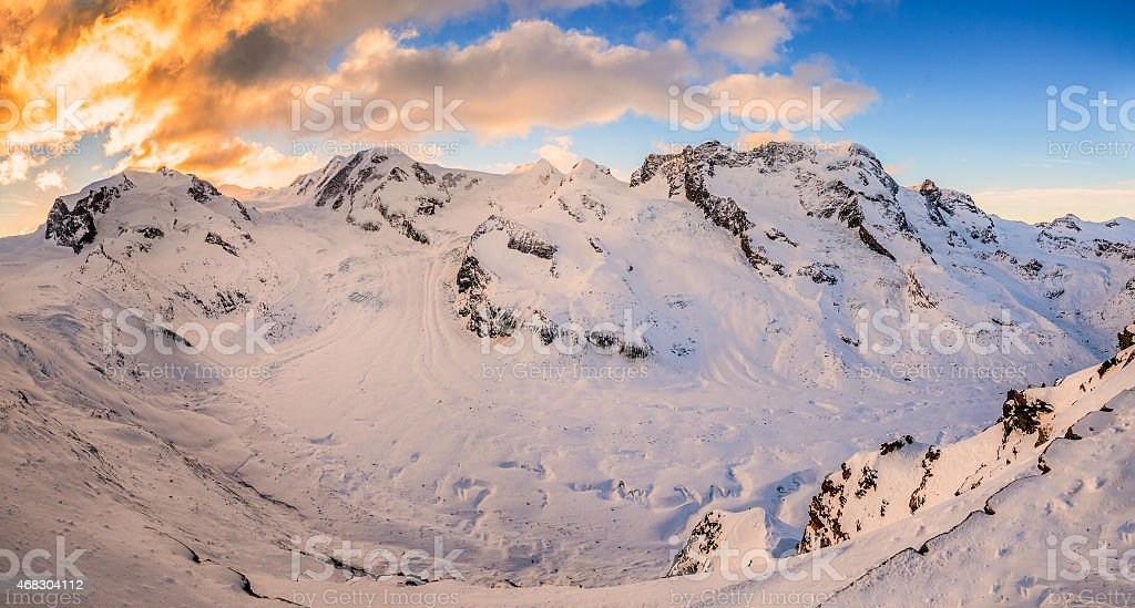 Panorama of Gorner Glacier at sunrise stock photo