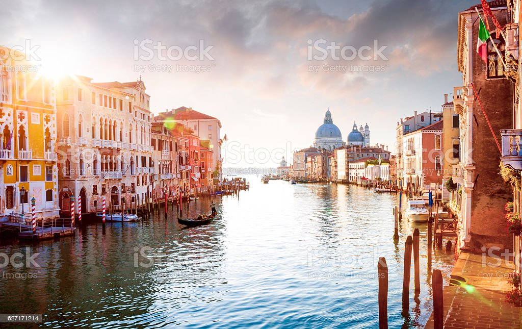Panorama of Grand Canal in Venice, Italy stock photo
