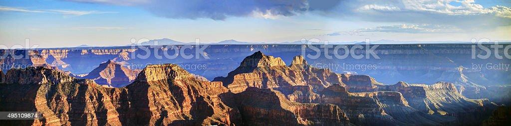 panorama of Grand Canyon National Park at sunset stock photo