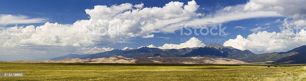Panorama of Great Sand Dunes NP stock photo