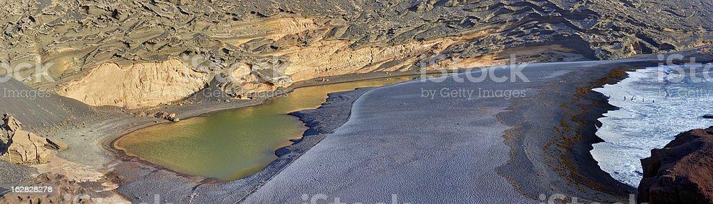Panorama of Green Lake - Lagoon. Lanzarote. royalty-free stock photo