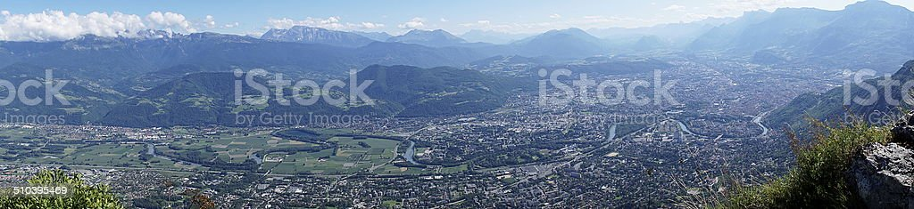 Panorama of Grenoble, taken from Fort du Saint-Eynard stock photo