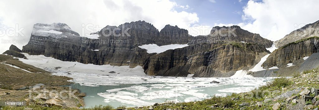 Panorama of Grinnell Glacier royalty-free stock photo