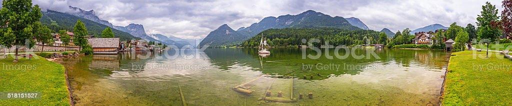 Panorama of Grundlsee lake stock photo