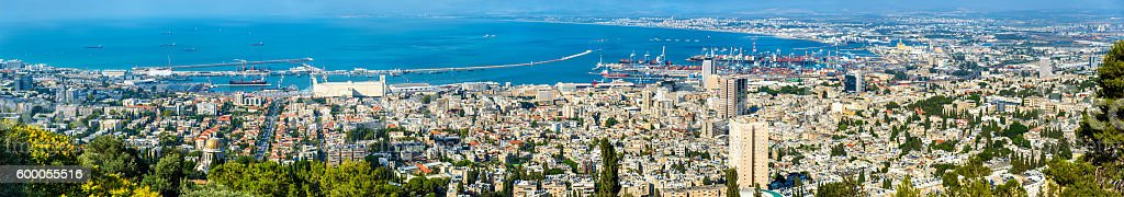 Panorama of Haifa from Mount Carmel stock photo