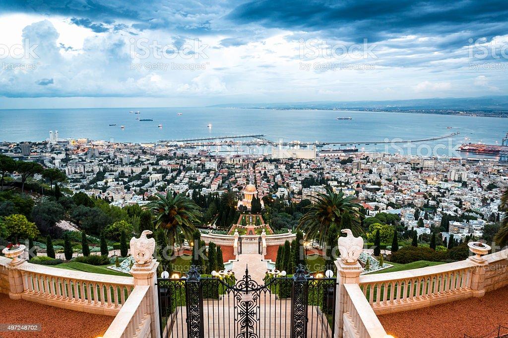 Panorama of Haifa - port and Bahai garden, Israel stock photo