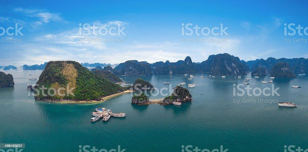 Panorama of Halong Bay Vietnam. Islands panoramic view stock photo