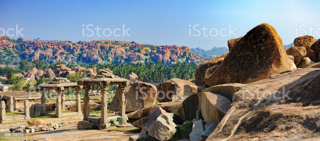Panorama of Hampi, India stock photo